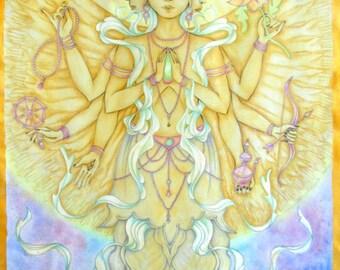 Avalokitesvara-Thangka-Buddha-Bodhisattva-Original watercolor Print
