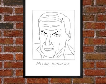 Badly Drawn Milan Kundera - Literary Poster - *** BUY 4, GET A 5th FREE***