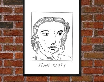 Badly Drawn John Keats - Literary Poster - *** BUY 4, GET A 5th FREE***