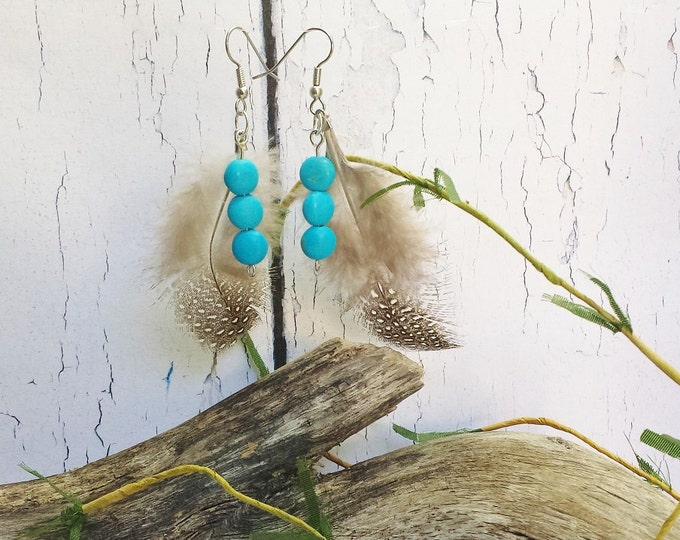 Feather Earrings ~ Cree Metis Canadian Aboriginal Real Blue Turquoise Pow Wow Regalia ~ Christmas In July 2016 Women Gift ~ Bijoux Ethniques
