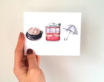 My Melbourne greeting card - illustration - handmade card - Melbourne - Australia - coffee - tram - umbrella
