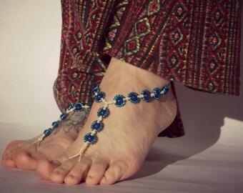 Barefoot Sandals, Beaded Hemp Daisy Chain Foot Jewelry, Beach Shoes, Yoga, Dance, Swimwear Sandals, Barefoot Jewelry, Barefoot Sandals