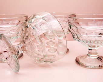 Sundae Dishes, Jacobean Glass, Old Fashioned, Vintage Serving Dish, Pudding Bowls, Entertaining, Dinner Table, Pressed Glass - 1930s / 1940s