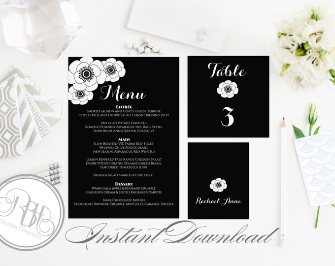 "Black & White Wedding Table Number Place Card Menu Templates INSTANT DOWNLOAD-DIY Editable Text-Black White Anemone ""Belinda"""