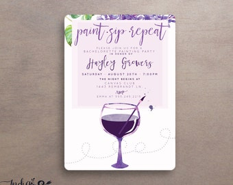 paint sip repeat painting party invitations, wine art party printable invitations, adult art party, painting with a twist,