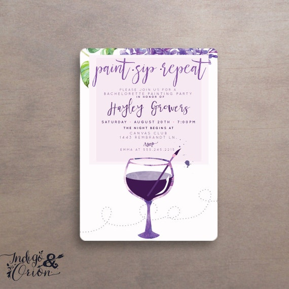 Paint sip repeat painting party invitations wine art party for Wine paint party