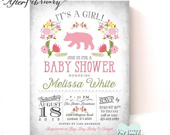 Floral Baby Bear Shower Invite Invitation Baby Shower Invite.Baby Shower Invites.Summer Baby Shower Floral Printable OR Printed No.741BABY