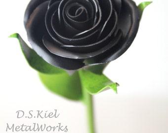 Metal Sweetheart Black Rose, Goth Present, Goth Gift, Day of the Dead, Black Flower, Dark Flower, Steampunk Gift, Steampunk Flower