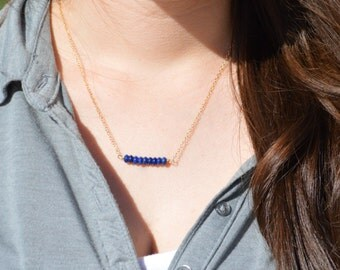 Lapis lazuli Necklace, Gem Bar, Dainty 14k Gold Fill, Sterling Silver, Rose Gold, Blue Necklace, Faceted Lapis Lazuli, Bar Necklace, Gold