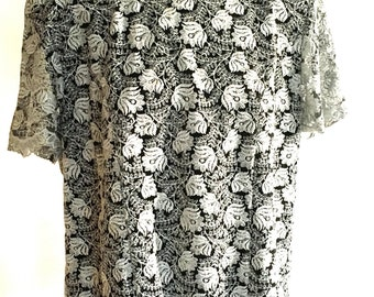Silver floral blouse / shirt flower / lace blouse / black blouse and silver /  oversize  /