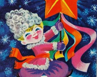Happy New Year! Vintage Soviet Postcard. Illustrator Kavun - 1976. Mystetstvo, Kiev. Boy, Star, Snowflakes, Snow, Tapes