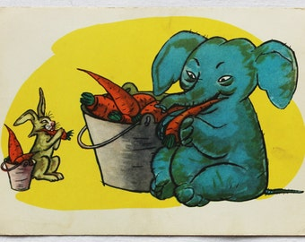 "Illustrator Golubev Vintage Soviet Postcard ""Bunny and Elephant"" - 1964. Sovetskiy hudozhnik. Rabbit, Buckets, Carrot, Yellow"