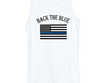 Fast shipping!  Back the blue tank.  Thin blue line shirt.  Semi-sheer racerback tank.  American flag tshirt. Thin blue line flag tank