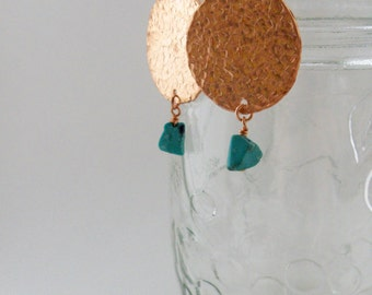 Hammered copper circle earrings with turquoise