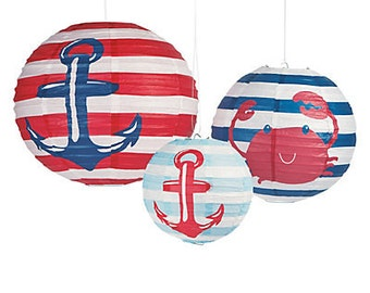 3/ Paper Nautical Lanterns / Nautical theme party / Under the sea party