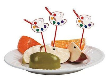 Artist Food picks/ cupcake picks/ Artist party theme / Painter's party theme