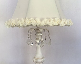 Shabby chic lamps etsy new shabby chic vintage style table lamp with crytals cream or pink ruffle shade mozeypictures Images