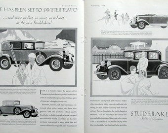 1929 Studebaker Car Ad - Commander Regal Roadster - Commander Victoria - President 8 Brougham - Convertible Cabriolet - 1920s Auto Ads