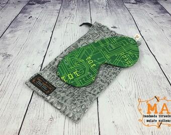 Oversized Geek Binary Sleep Mask With Fleece Lining and Optional Travel Bag