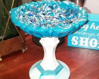 Vintage glass pedestal dish