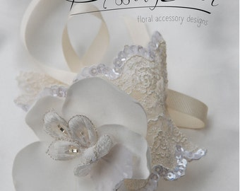 Ivory satin orchid and lace wrist cuff;lace wedding wrist cuff;orchid wrist cuff