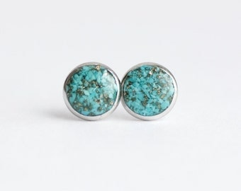 FREE SHIPPING // Sleeping Beauty Turquoise and Pyrite Stud Earrings // Turquoise Jewelry // Turquoise Earrings // Turquoise Stud Earrings