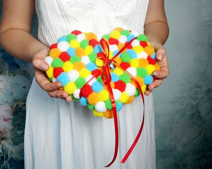 Colorful heart ring bearer Wedding pillow colorful wedding pompom tassel cushion funny decor geek wedding accessory rainbow gay lesbian