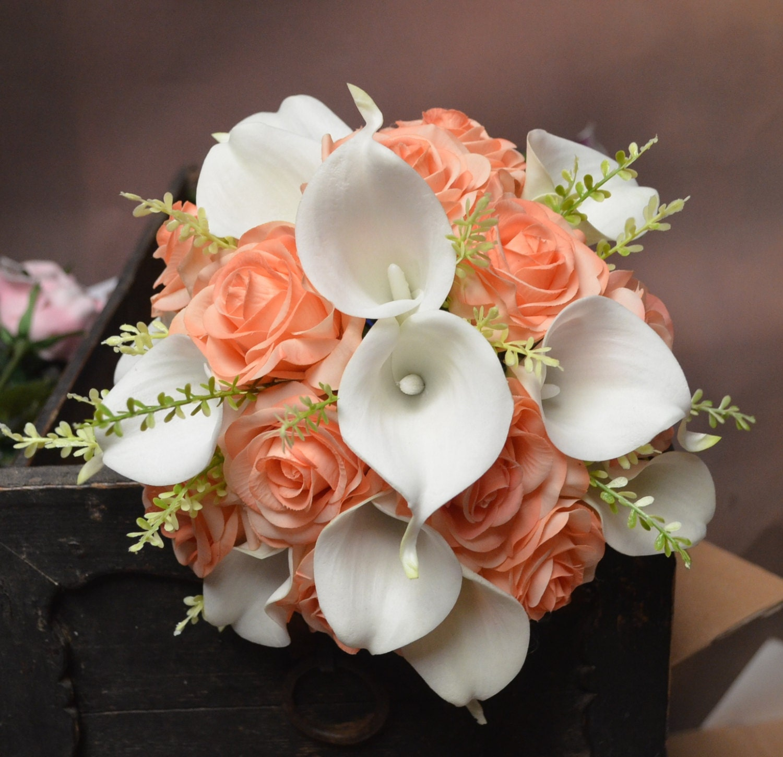 Rustic Silk Bridal Bouquet Light Coral Peach Roses White Calla