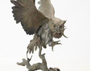 Bronze Sculpture,   After Jules Moigniez ( French 1835-1894), Le Hibou-The Owl,#933