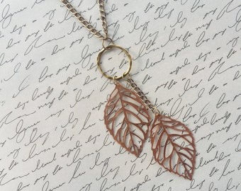 Copper Leaf Necklace, Leaf Pendants, Copper Necklace, Boho Jewelry, Leaf Jewelry, Copper Jewelry, Bronze Jewelry, Handmade Jewelry