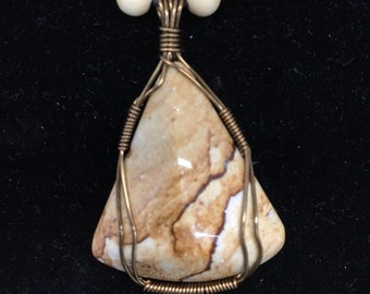 Picture Rock Pendant Natural stone w/bead necklace, wire wrapped