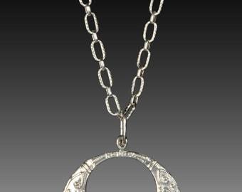 Sterling Silver Eastern Hoop Design Necklace With 3 Flush Set Diamonds
