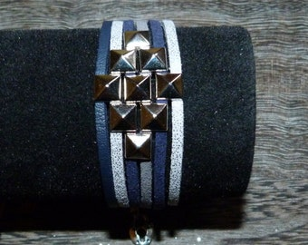 Leather rock bracelet grey/blue