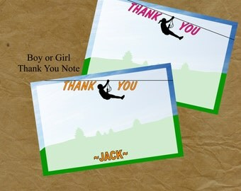 ZIPLINE Birthday Party THANK YOU Note Boys Of Girls Zip Line