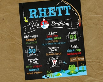 FISHING Birthday Chalkboard Poster - Any Size and Age