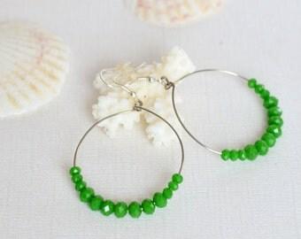 Hoop earrings - Green earrings - Large hoop earrings - Crystal earrings - Boho earrings - Gift for her - Gypsy earrings - Statement earrings