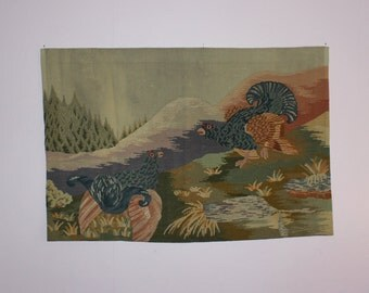 Wonderful vintage hand embroidered large wall hanging Tapestry with Capercaillies. Made in Sweden Scandinavian.