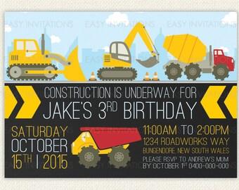 Construction Truck Digger Birthday Invitation Digital Printable Excavator Dozer Digger Tractor