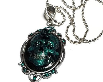 Metallic Blue Sugar Skull Cameo Necklace, Blue Day of the Dead Cameo Pendant, Metallic Blue Skull Pendant ON SALE NOW