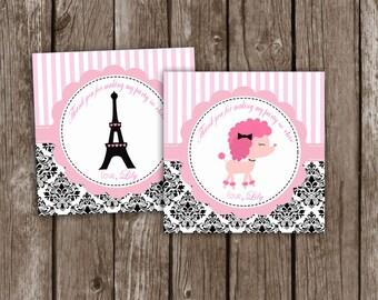 Paris Thank you Tags Personalized, Paris Gift Favors, Paris Birthday Party,Eiffel Party Favors Personalized PRINTABLE DIY PDF