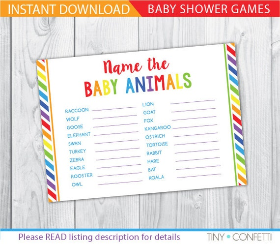 Baby Shower Game Name The Baby Animal: Rainbow Name The Baby Animals Baby Shower Games Girl Baby