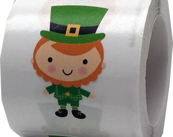 """Leprechaun Stickers - Design By Doodlebug for Scrapbook or Envelope Seals - 1  3/4""""  Die Cut Shape Adhesive St. Patrick's Day Stickers"""