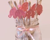 elephant straws, pink and gray baby shower decorations, little peanut, baby elephants, 10CT