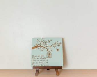 Give your children two gifts - roots and wings wood sign {light mint and brown}