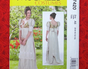 McCall's Sewing Pattern M7420, Regency Gown, Empire Waist, Puff Sleeves, Train, Sizes 6 8 10 12 14, Historical Georgian Costume Dress, UNCUT