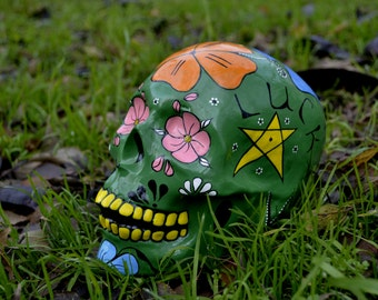 FREE SHIPPING Unique Handmade Ceramic Day of the Dead Lucky Colorful Flowers Mexican Sugar Skull
