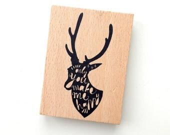 Deer wood rubber stamp