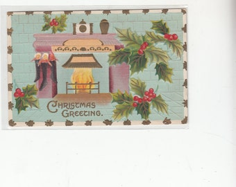 Tres Moderne Look, Alot Of Gold,Fireplace,Turquoise,Embossed,Holly, Stockings,1911 Antique Postcard