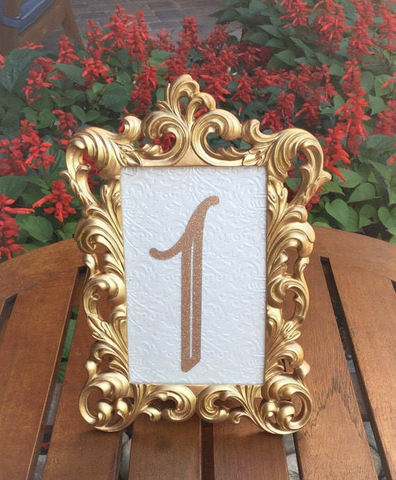 table number frames 4 x 6 gold wedding frames ornate baroque. Black Bedroom Furniture Sets. Home Design Ideas