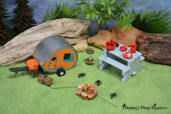 Miniature Tab Camping Set Fairy Garden By Pennyspixieplanters